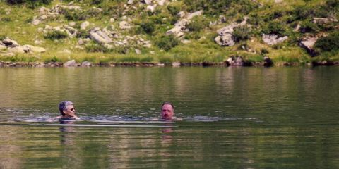 My parents swimming in the Gritschersee in 1998