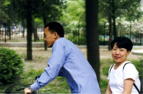 Zhiqiang Qian with his wife, China, 1999