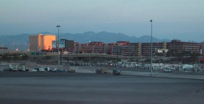 I'm leaving las Vegas... The Mandalay Bay reflects the rising sun early in the morning